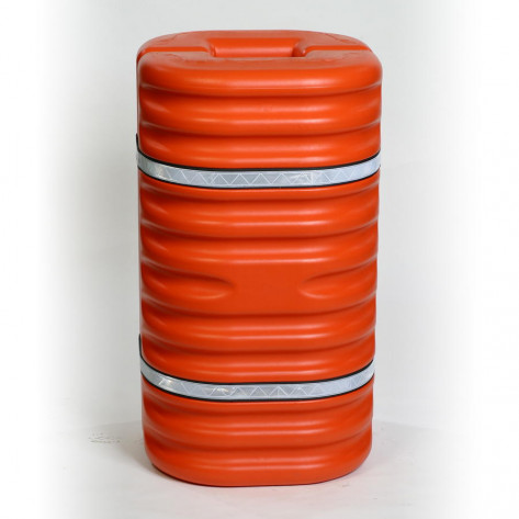 "9"" Column Protector, Orange w/Reflective Bands"