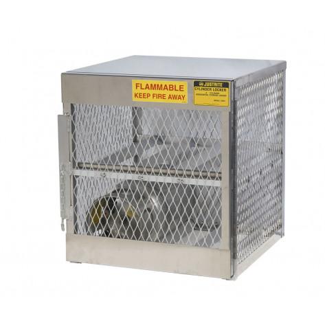 Cylinder locker for safe storage of 4 horizontal 20 or 33-lb. LPG cylinders.