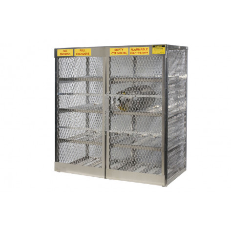 Cylinder Locker For Safe Storage Of 16 Horizontal 20 Or 33-Lb. LPG Cylinders