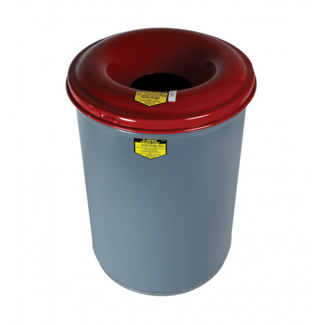 Cease-Fire   Waste Receptacle, Safety Drum Can with Steel Head, 12 gallon, Gray.