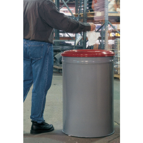 Cease-Fire   Waste Receptacle, Safety Drum Can with Steel Head, 15 gallon, Gray.