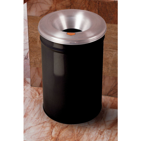Cease-Fire  Waste Receptacle, Safety Drum Can with Aluminum Head, 6 gallon, Black.