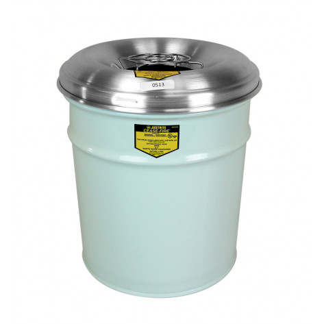 Cease-Fire  Ash and Cigarette Butt Receptacle Drum with Aluminum Head w/Grill Guard, 4.5 gal, White.