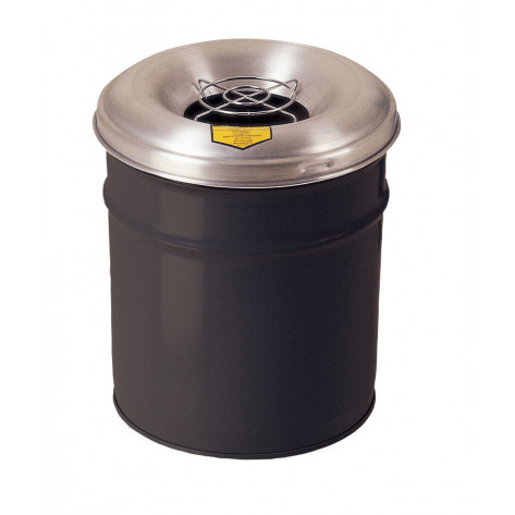 Cease-Fire  Ash and Cigarette Butt Receptacle Drum with Aluminum Head w/Grill Guard, 6 GAL, Black.
