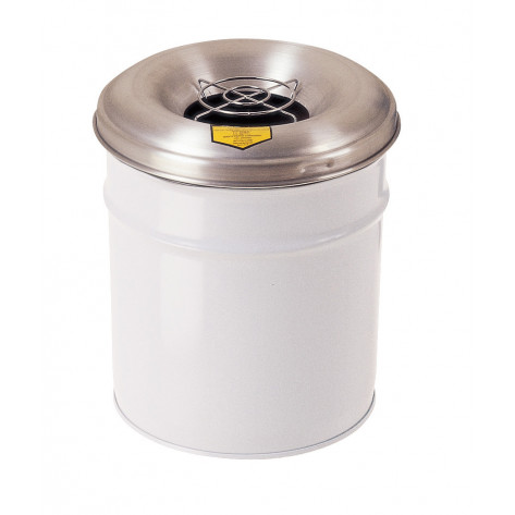 Cease-Fire  Ash and Cigarette Butt Receptacle Drum with Aluminum Head w/Grill Guard, 6 GAL, White.