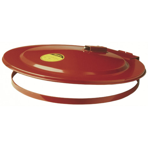 Drum Cover with Fusible Link for 55-gallon drum, self-close, steel, Red