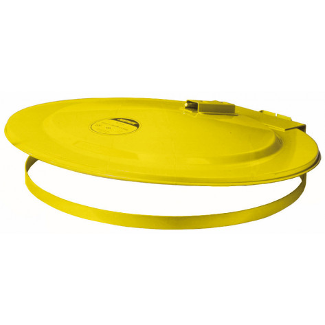Drum Cover with Fusible Link for 200 litre drum, self-close, steel, Yellow.