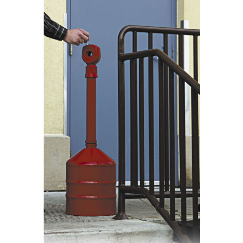 Heavy Duty Cigarette Butt Can, capacity 5 gallons, base and neck steel, polyethylene topper, Red.