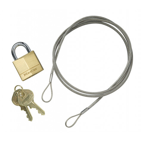 Anchoring Cable Kit with Padlock for Smokers' Cease-Fire  Cigarette Butt Receptacle.