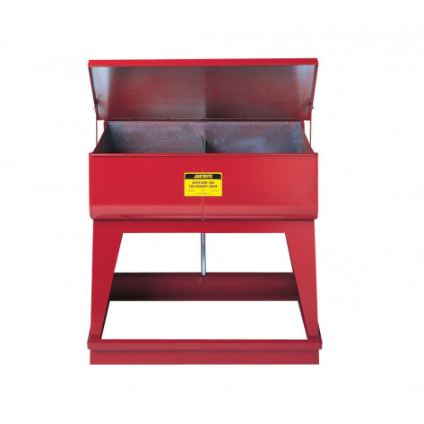Rinse Tank, Twin Chamber Floor-Stand, two 4-gal chambers, foot-operate s/c cover, 2 plugs, Steel, Red.