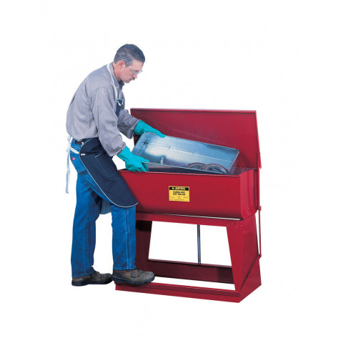 Rinse Tank, Floor-Standing, 22 gallon, foot-operated self-close cover, drain plug, Steel, Red.