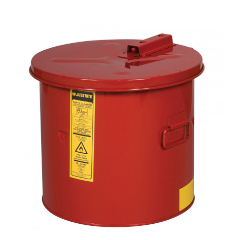 Dip Tank for cleaning parts, 5 gal, manual cover with fusible link, optional parts basket, Steel, Red.