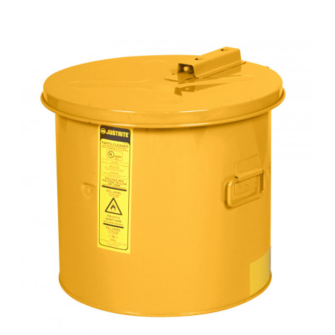 Dip Tank for cleaning parts, 19 litre, manual cover w/fusible link, optional parts basket, Steel, Yellow.