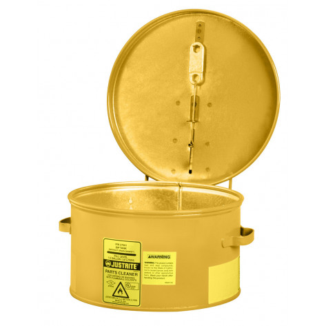 Dip Tank for cleaning parts, 4 litre, manual cover w/fusible link in case of fire, Steel, Yellow.