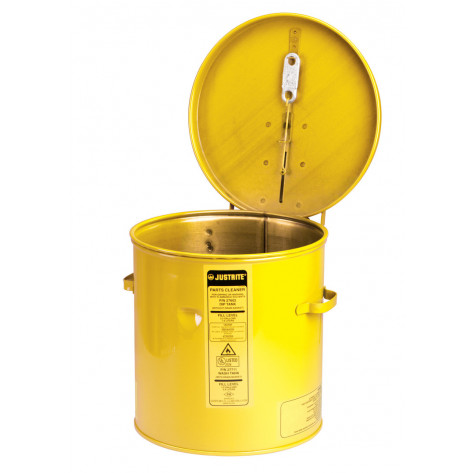 Dip Tank for cleaning parts, 8 litre, manual cover w/fusible link, optional parts basket, Steel, Yellow.