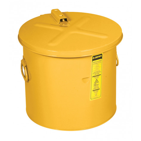 Dip Tank w/poly HDPE Liner, 19 litre, self-close cover w/fusible link, optional parts basket, Steel Yellow.