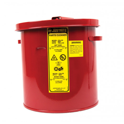 Wash Tank with Basket for small parts cleaning, 1 gal, self-close cover w/fusible link, Steel, Red