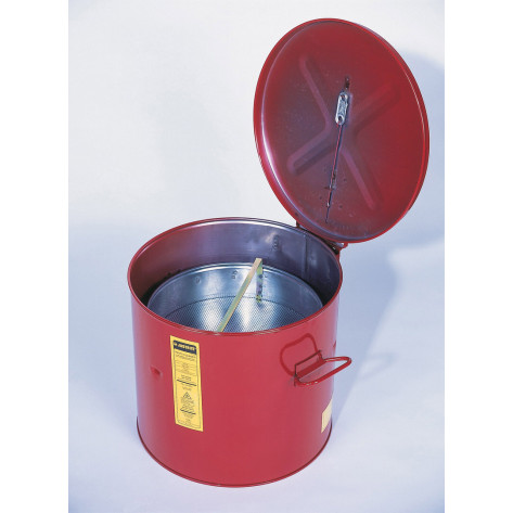 Wash Tank with Basket for small parts cleaning, 6 gal, self-close cover w/fusible link, Steel, Red