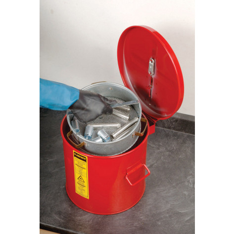 Wash Tank with poly Liner and Basket, 3.5 gallon, self-close cover w/fusible link, Steel, Red.