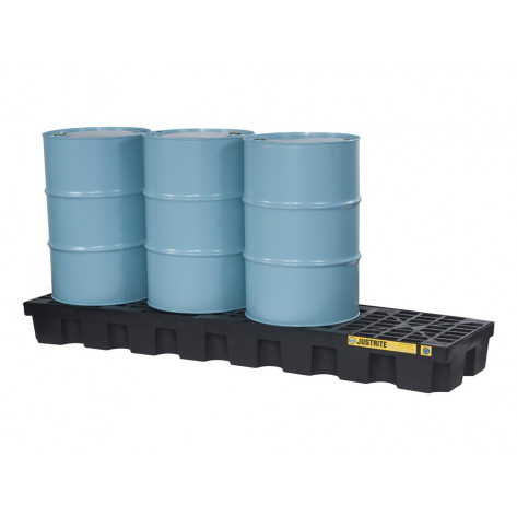 EcoPolyBlend™ Spill Control Pallet, 4 Drum In-Line, Recycled Polyethylene, Black 75 Gal Sump