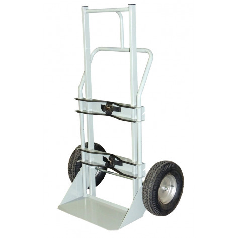 Single Cryogenic Cylinder Hand Truck, 16 Inch Pneumatic Wheels