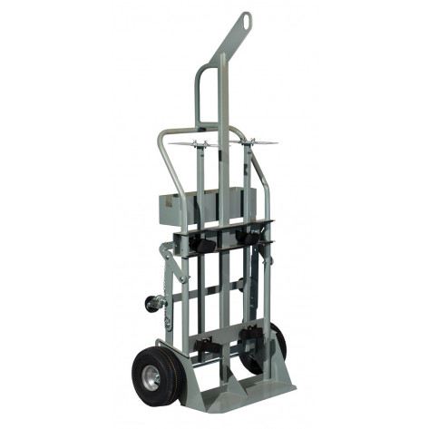 Double Cylinder Hand Truck with Hoist Ring, 10.5 Inch Pneumatic Wheels, Rear Casters and Tool Tray