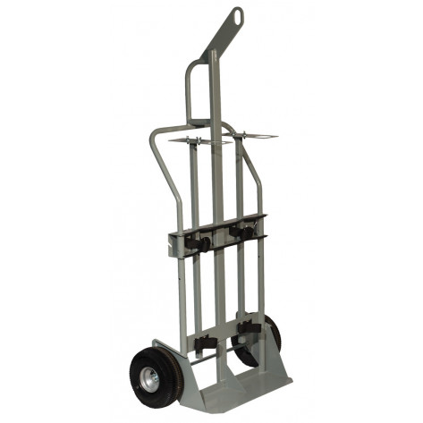 Double Cylinder Hand Truck with Hoist Ring, 10.5 Inch Pneumatic Wheels