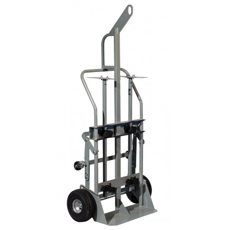 Double Cylinder Hand Truck with Hoist Ring, 10.5 Inch Pneumatic Wheels, Rear Casters