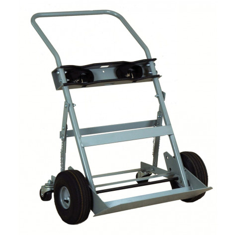 Double Cylinder Hand Truck, 10.5 Inch Pneumatic Wheels, Rear Casters