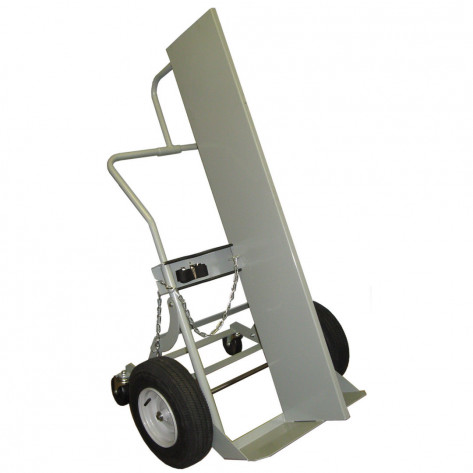 Double Cylinder Hand Truck with Firewall, 16 Inch Pneumatic Wheels, Rear Casters