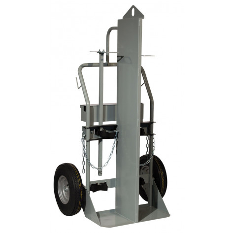 Double Cylinder Hand Truck with Firewall and Hoist Ring, 16 Inch Pneumatic Wheels, Tool Box