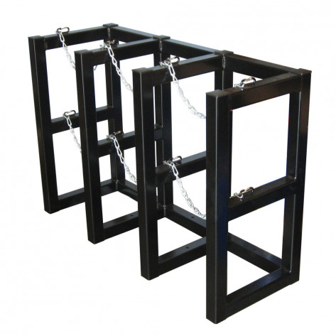 Gas Cylinder Barricade Rack, 3 Cylinder Capacity, 3 Wide by 1 Deep