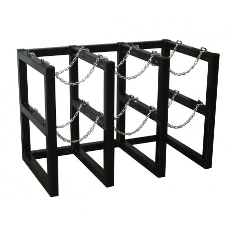 Gas Cylinder Barricade Rack, 6 Cylinder Capacity, 3 Wide by 2 Deep