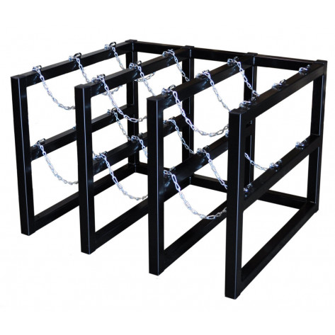 Gas Cylinder Barricade Rack, 9 Cylinder Capacity, 3 Wide by 3 Deep
