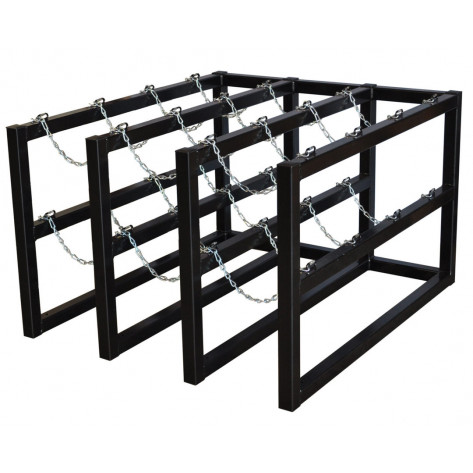 Gas Cylinder Barricade Rack, 12 Cylinder Capacity, 3 Wide by 4 Deep