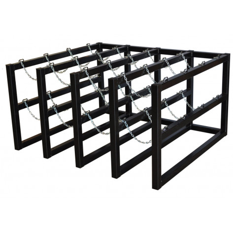 Gas Cylinder Barricade Rack, 16 Cylinder Capacity, 4 Wide by 4 Deep