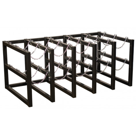 Gas Cylinder Barricade Rack, 15 Cylinder Capacity, 5 Wide by 3 Deep