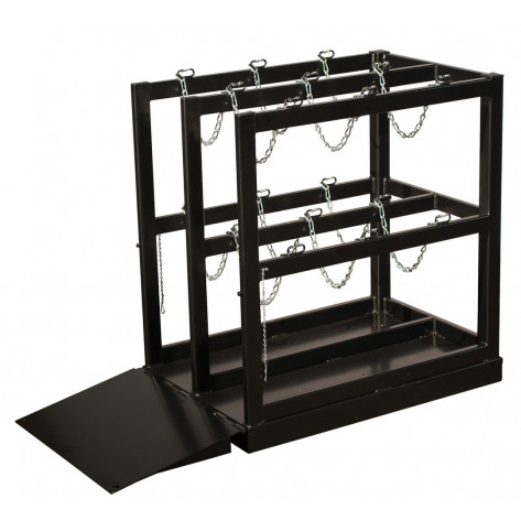 Gas Cylinder Barricade Rack Pallet with Ramp, 6 Cylinder Capacity