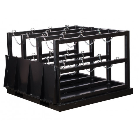 Gas Cylinder Barricade Rack Pallet with Ramp, 12 Cylinder Capacity