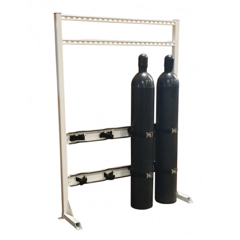 Gas Cylinder Process Stand, 4 Cylinder Capacity, In-Line, Steel