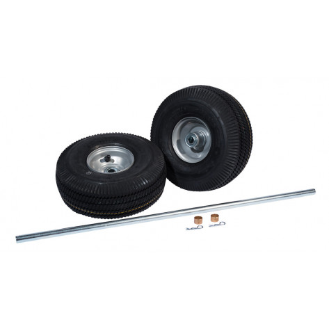 Pneumatic Wheels and Axle Set for Double Cylinder Hand Trucks, 10.5 Inch