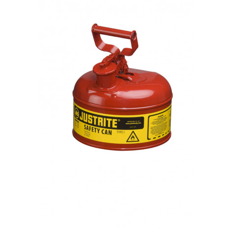 Type I Steel Safety Can for flammables, 1 gallon, S/S flame arrester, self-close lid, Red.