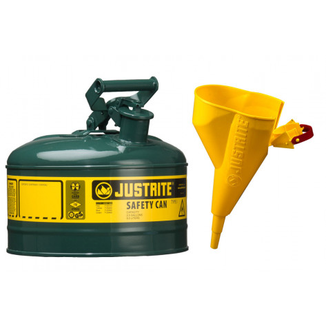 Type I Steel Safety Can for flammables, Funnel 11202Y, 1 gallon, S/S flame arrester, s/c lid, Green.