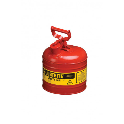 Type I Steel Safety Can for flammables, 2 gallon, S/S flame arrester, self-close lid, Red.