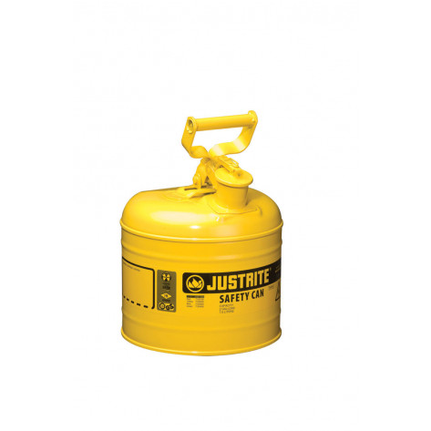 Type I Steel Safety Can for flammables, 2 gallon, S/S flame arrester, self-close lid, Yellow.