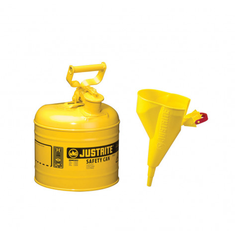 Type I Steel Safety Can for flammables, Funnel 11202Y, 2 gallon, S/S flame arrester, s/c lid, Yellow.