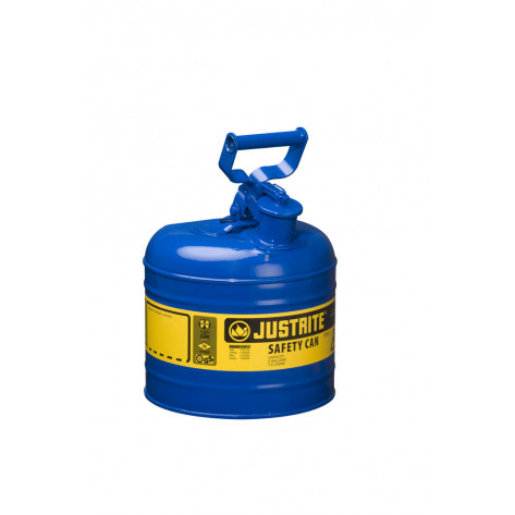 Type I Steel Safety Can for flammables, 2 gallon, S/S flame arrester, self-close lid, Blue.