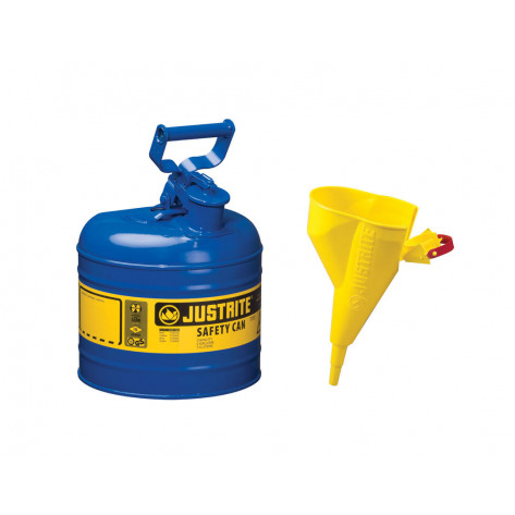 Type I Steel Safety Can for flammables, Funnel 11202Y, 2 gallon, S/S flame arrester, s/c lid, Blue.