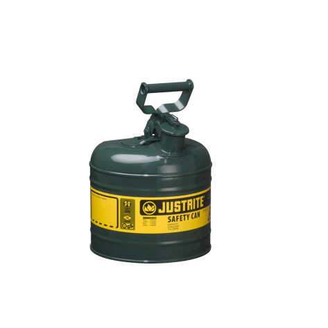 Type I Steel Safety Can for flammables, 2 gallon, S/S flame arrester, self-close lid, Green.