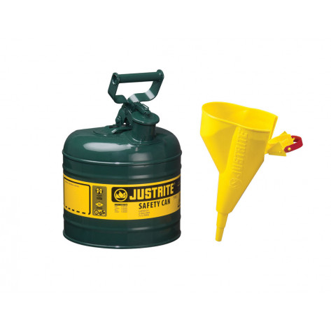 Type I Steel Safety Can for flammables, Funnel 11202Y, 2 gallon, S/S flame arrester, s/c lid, Green.